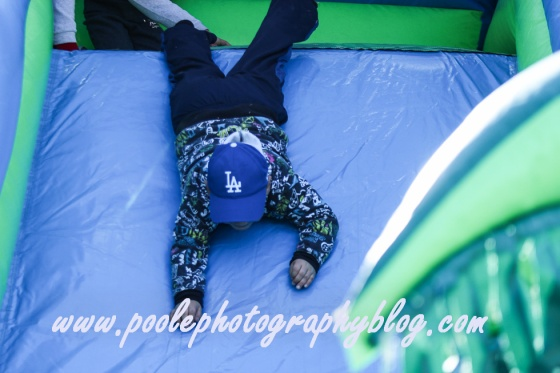Head first down the bouncy house.